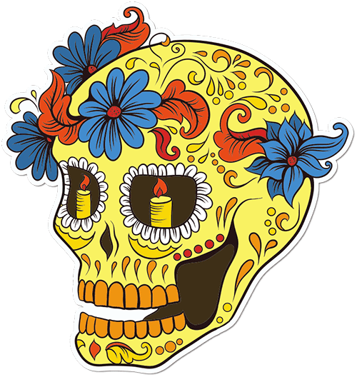 Sugar Skull Daisies Printed Sticker