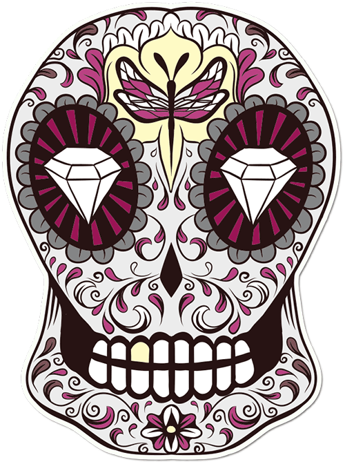 Sugar Skull Dragonfly Printed Sticker