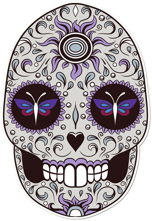Sugar Skull Dragonfly Eyes Printed Sticker