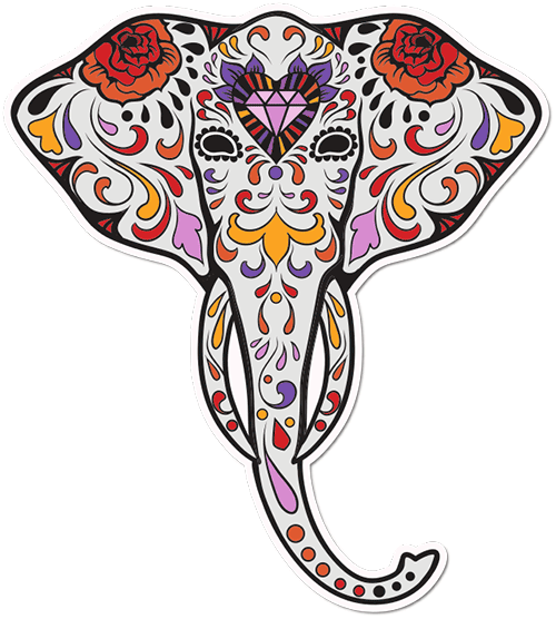 Sugar Skull Elephant Diamond Heart Printed Sticker