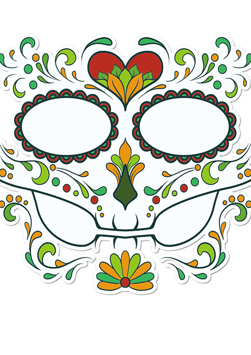 Sugar Skull Face Autumn Love Printed Sticker