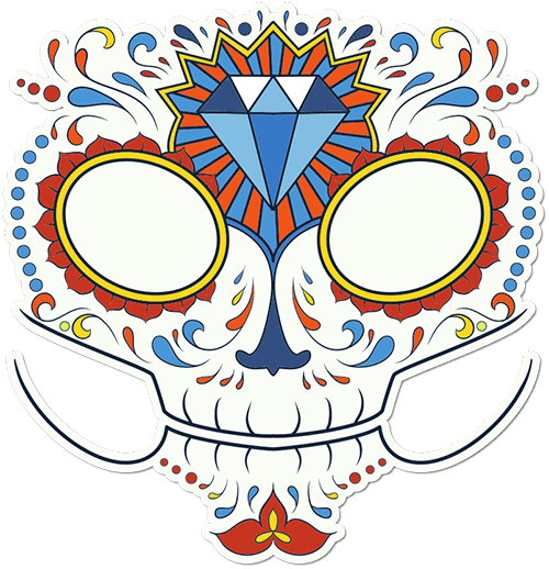 Sugar Skull Face Jewel Blitz Printed Sticker