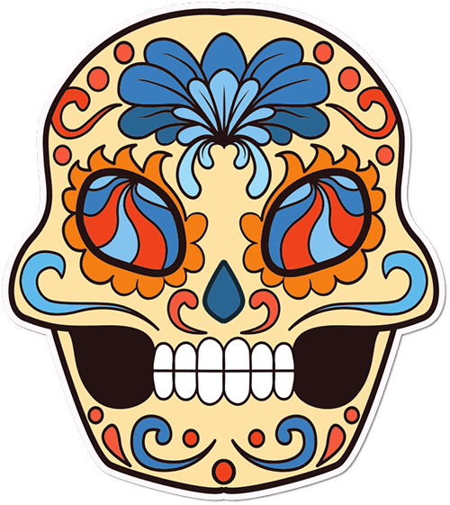 Sugar Skull Wavy Streak Eyes Printed Sticker