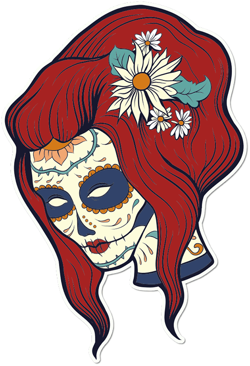Sugar Skull Woman Daisies Printed Sticker