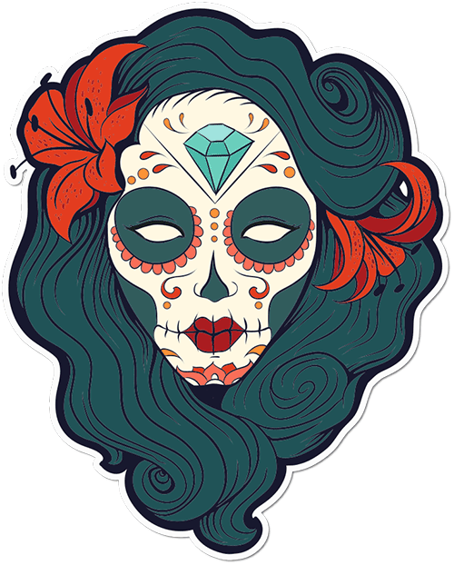 Sugar Skull Woman Orchid Printed Sticker