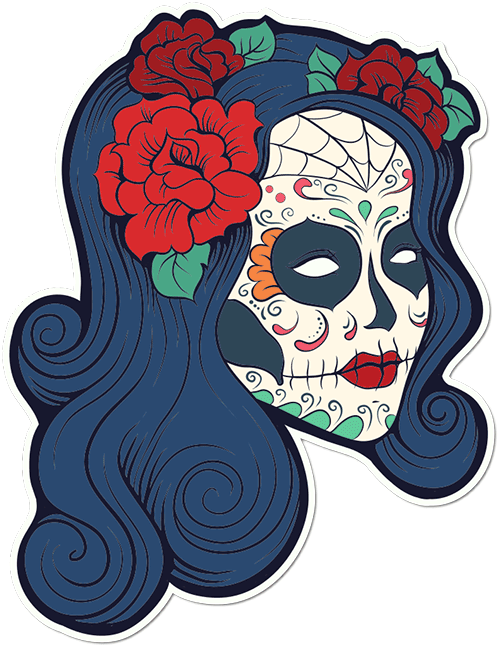 Sugar Skull Woman Roses Printed Sticker
