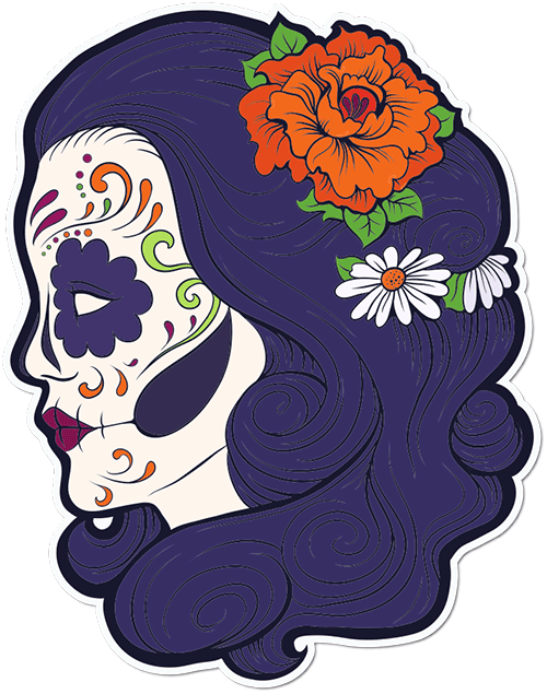 Sugar Skull Woman Roses Daisies Printed Sticker