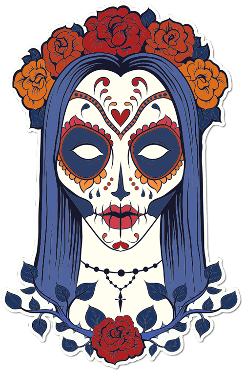 Sugar Skull Woman Thorned Roses Printed Sticker