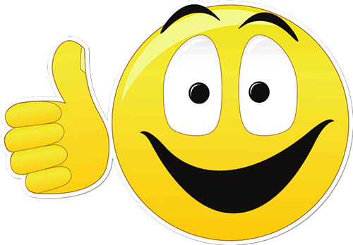 Smiley Face Thumbs Up Printed Sticker