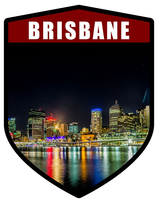 QLD Brisbane City Shield Night Skyline