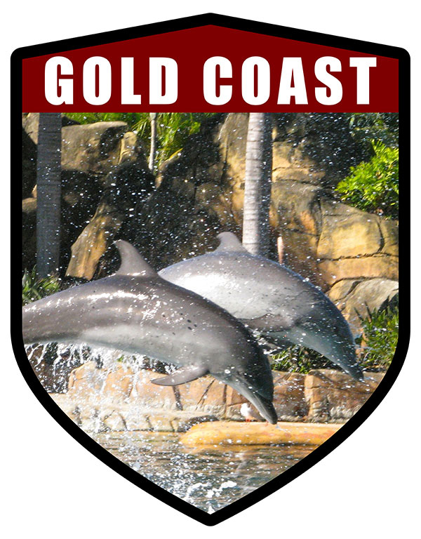 QLD Shield Gold Coast Seaworld Dolphins Leaping
