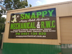 Snappy Happy Mobile Mechanics Custom ACM Sign Close Up