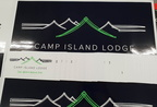 Custom Printed Camp Island Lodge Business Stickers