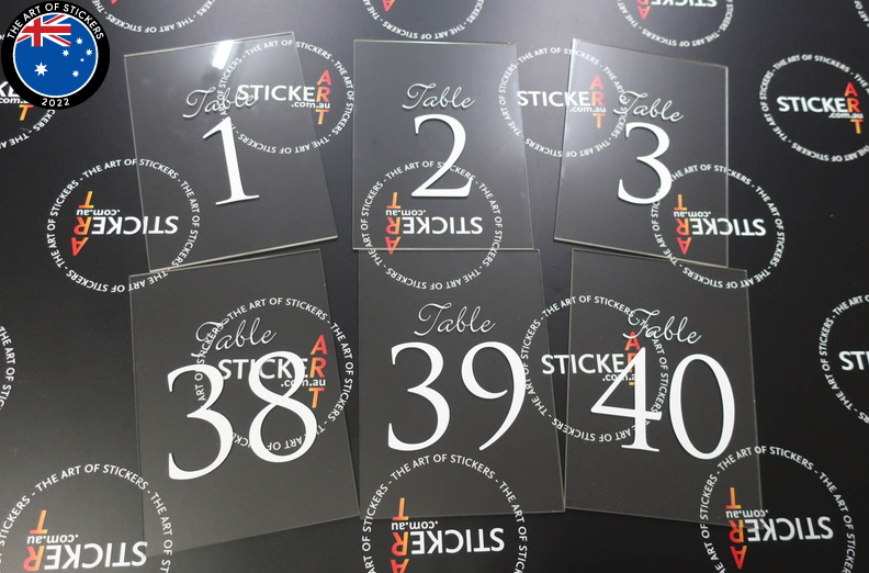 Custom Wedding Table Numbers Clear Acrylic Signage | The Art