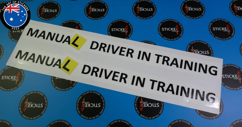 Custom Printed Contour Cut Manual Learner Driver Training Vinyl Business Stickers