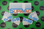 Custom Printed Clear on Reflective Contour Cut Supavac Logo & Model Number Cut Vinyl Business Stickers