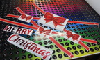 Custom Printed Contour Cut Static Cling Film Merry Christmas Ribbons Bows Wheel Of Brisbane Business Signage