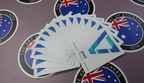 Custom Printed Contour Cut Die Pivot Business Stickers