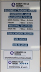 Custom ACM Corinthian Doors Showroom Parking Sales Business Trading Hours Signage