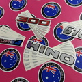 Custom Printed Clear on Chrome Contour Cut Hino Vinyl Sticker Set