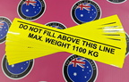 Custom Printed Contour Cut Die-Cut Do Not Fill Above Line Max Weight Vinyl Business Stickers