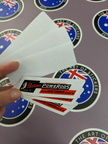 Custom Printed White on Clear Contour Cut Die Cut Super Barra Powerods Vinyl Business Stickers