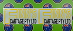 Custom Printed Contour Cut Finn's Cartage Vinyl Business Lettering Stickers