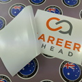 Custom Reverse Printed Contour Cut Career Ahead Vinyl Business Stickers