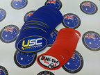 Bulk Custom Printed Contour Cut Die Cut USC Ultimate Speedway Challenge Hi Tec Oils Vinyl Business Stickers