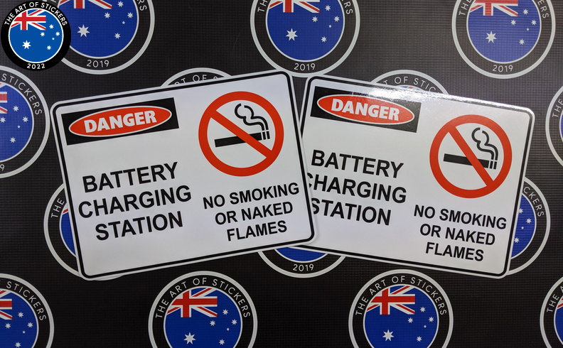 Custom Printed Contour Cut Die Cut Danger Battery Charging Station Vinyl Business Stickers