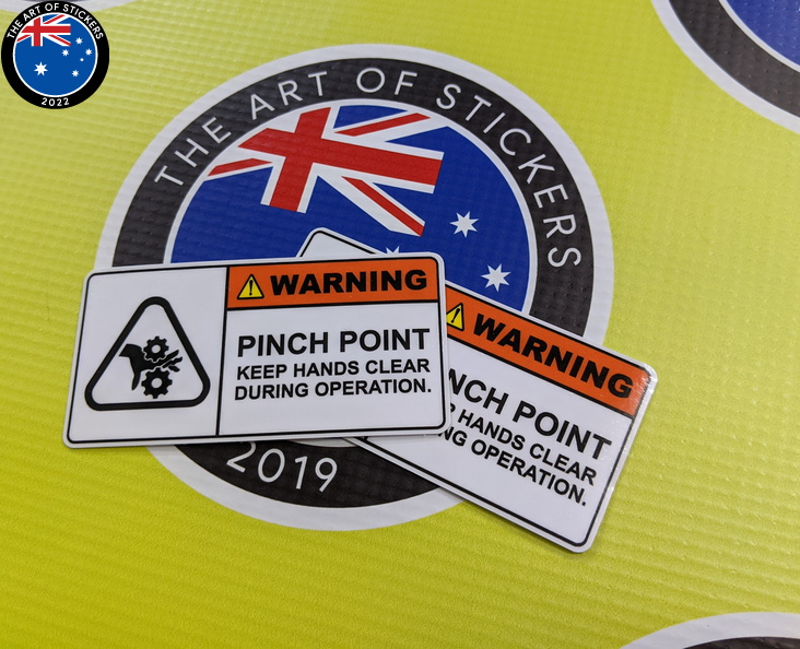 Custom Printed Contour Cut Die Cut Warning Pinch Point Vinyl Business Stickers