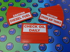 Bulk Custom Printed Contour Cut Die-cut Caution Diesel Check Oil Attention Drain Air Tanks Vinyl Business Stickers