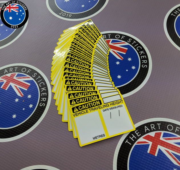 Bulk Custom Printed Contour Cut Die-Cut Caution Vehicle Travel Height Vinyl Business Stickers
