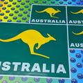 Custom Printed Contour Cut Australia Green and Gold Kangaroo Vinyl Business Stickers