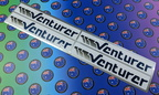 Custom Printed Silver Metallic Contour Cut Venturer Vinyl Business Logo Stickers