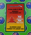 Custom Printed Contour Cut Die-Cut Ozki Canvas Christmas Closing Dates Vinyl Business Stickers