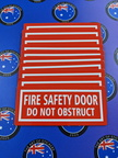 Custom Printed Contour Cut Die-Cut Fire Safety Door Do Not Obstruct Vinyl Business Stickers