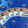 Catalogue Printed Contour Cut Die-Cut Danger Live Steam Vinyl Business Stickers