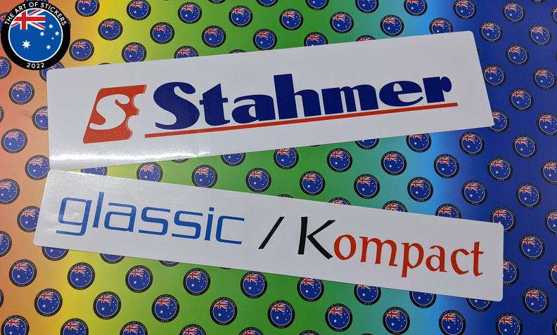 Custom Printed Contour Cut Die-Cut Stahmer Glassic Kompact Vinyl Business Logo Stickers