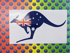 Catalogue Printed Contour Cut Australian Flag Kangaroo Vinyl Stickers