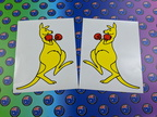 Catalogue Printed Contour Cut Boxing Kangaroo Vinyl Stickers