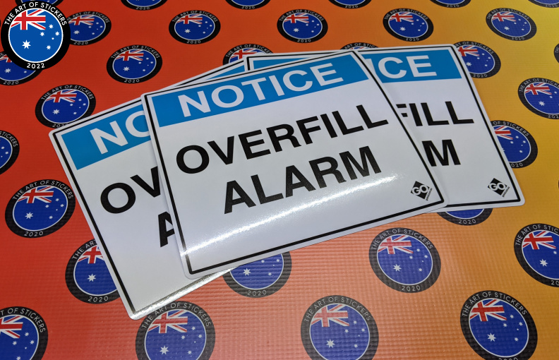 Custom Printed Contour Cut Die-Cut Go Industrial Notice Overfill Alarm Vinyl Business Stickers
