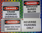 Custom Printed Danger Crane Working Overhead Services Buried Below High Voltage Overhead Reverse Parking Only Corflute Business Signage