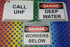 Custom Printed Danger Deep Water Workers Below Call UHF Corflute Business Signage