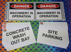 Custom Printed Danger Machinery in Operation Concrete Wash Out Bay Site Parking Corflute Business Signage