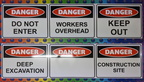 Custom Printed Danger Workers Overhead Keep Out Deep Excavation Construction Site Blank ACM Business Signage
