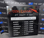 Custom Printed ACM Ozki Canvas Business Hours Signage