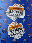 Bulk Catalogue Printed Contour Cut Die-Cut Warning 9.0 Tonne Maximum Capacity Vinyl Business Stickers